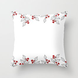 Brunches with leaves and hearts Throw Pillow