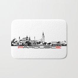 Pardubice skyline city black Bath Mat