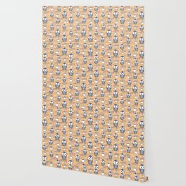 Orange & Blue Owls pattern Wallpaper