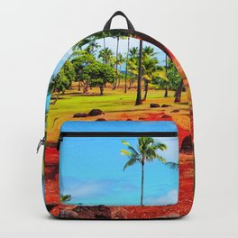 palm trees with green tree and blue cloudy sky in summer Backpack