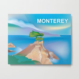 Monterey, California - Skyline Illustration by Loose Petals Metal Print