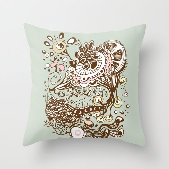 Zentangle green flower roots doodle Throw Pillow