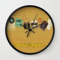 moonrise kingdom Wall Clocks featuring Moonrise Kingdom by Lindsey Pudlewski