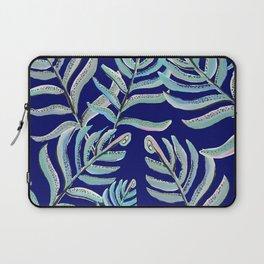 Pastel Ferns with Dark Blue Laptop Sleeve