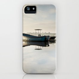 Icy morning sunrise on Hornsea Mere iPhone Case