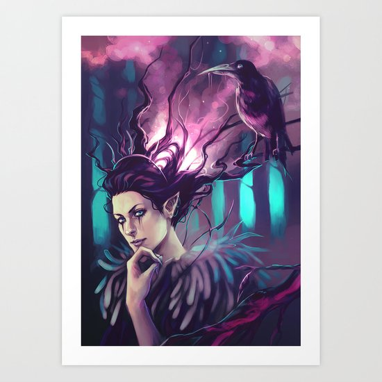 Lady Winter and the Crow Art Print
