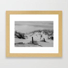 Buried Fences - Coastal Landscape Photo Black and White Framed Art Print