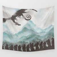 smaug Wall Tapestries featuring The Desolation of Smaug by JadeJonesArt