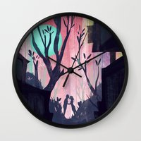 lovers Wall Clocks featuring Lovers by youcoucou