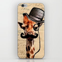 Giraffe Mustache Monocle Tophat Dandy iPhone Skin