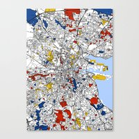 mondrian Canvas Prints featuring Dublin mondrian by Mondrian Maps