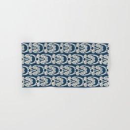 Modern Farmhouse Scroll Ikat Pattern - Navy Cream Hand & Bath Towel