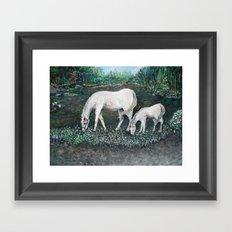 Dappled Mare with Dappled Foal Framed Art Print
