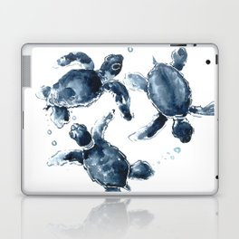 Turtle Swimming Sea Turtles indigo blue turtle art Laptop & iPad Skin