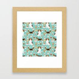 Beagle coffee print cute dog beagles coffees lattes Framed Art Print