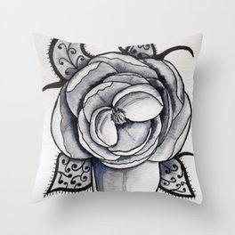 Lacy leaf peony Throw Pillow