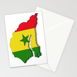 Senegal Map with Senegalese Flag Stationery Cards