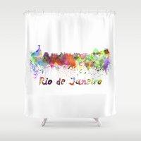 rio de janeiro Shower Curtains featuring Rio de Janeiro skyline in watercolor by Paulrommer