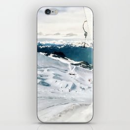Snowy life on slope under T-bar lifts iPhone Skin
