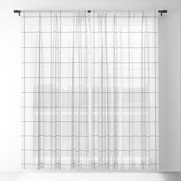 Windowpane Check Grid (black/white) Sheer Curtain