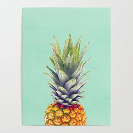 Pineapple, Fruit, Kitchen, Modern art, Tropical, Art, Minimal, Wall art Print Poster