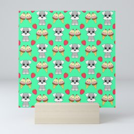 Cute happy funny baby Schnauzer puppy, sweet adorable yummy colorful Kawaii ice cream cones and red summer strawberries cartoon bright pastel teal green pattern design Mini Art Print