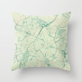 Brussels Map Blue Vintage Throw Pillow