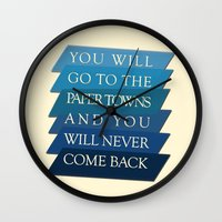 paper towns Wall Clocks featuring you will go to the paper towns by Sarah Turbin