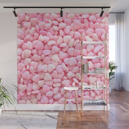 Pink Candy Hearts Wall Mural