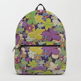 Bright Blooms on Dark Purple Backpack