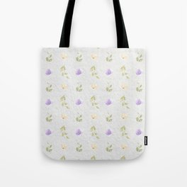 Lilac green hand painted floral leaves pattern Tote Bag