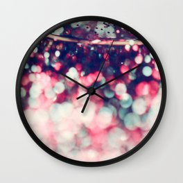 Pinky Blue Glitter Bokeh Blur Wall Clock