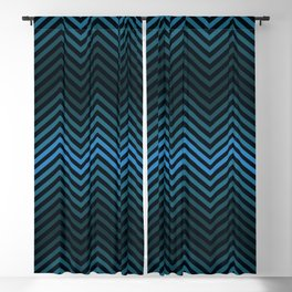 Blue And Black Zig Zag Abstract Design Blackout Curtain
