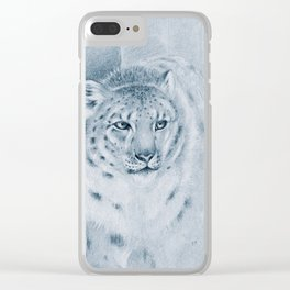 Snow Leopard Ghost Blue Drawing Clear iPhone Case