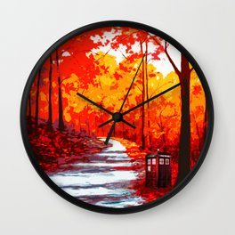 Tardis Art Autumn Wall Clock