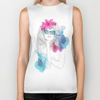 glasses Biker Tanks featuring Glasses by Camis Gray