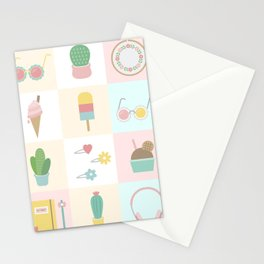 Cute Pastel Summer Pattern Stationery Cards