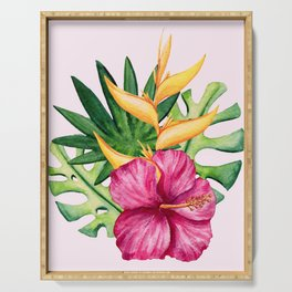 Tropical Hibiscus Summer Bouquet Serving Tray