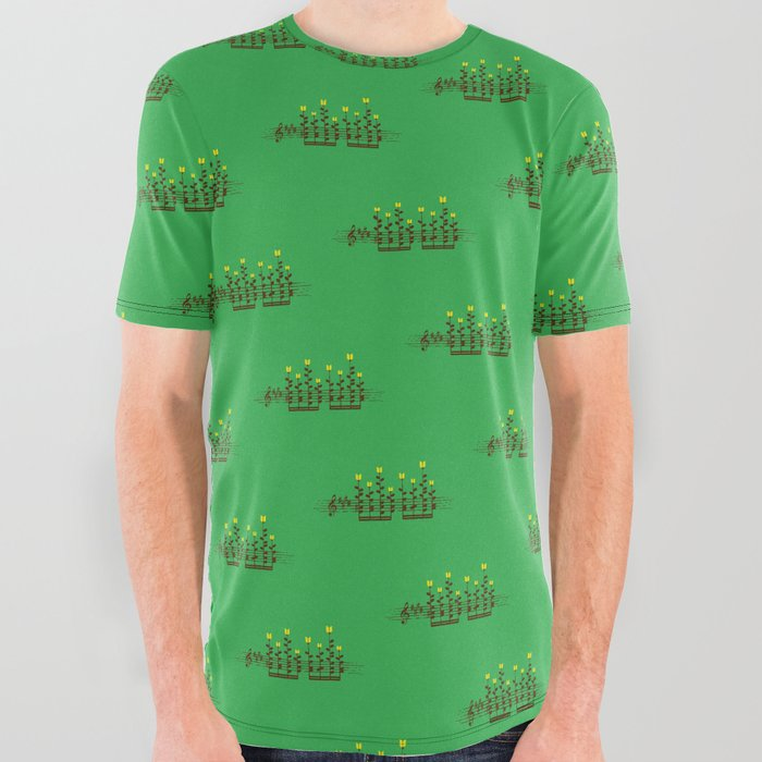 48eefa309 Music notes garden All Over Graphic Tee by budikwan | Society6