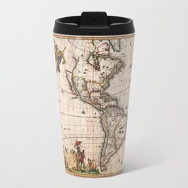 1658 Map of North America and South America with 2015 enhancements Travel Mug