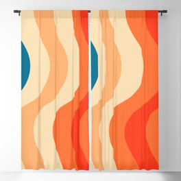 70's and 80's retro colors curving stripes Blackout Curtain
