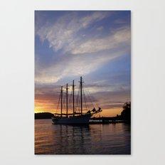 Schooner at sun rise Canvas Print