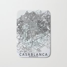 Casablanca, Morocco, White, City, Map Bath Mat