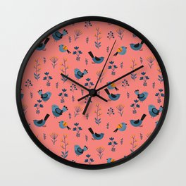 Birds and flowers background IV Wall Clock