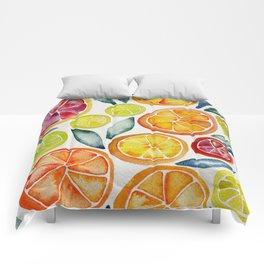 Sliced Citrus Watercolor Comforters