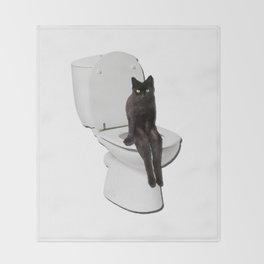 Toilet Cat Throw Blanket