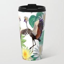 seamless pattern of cranes and lotuses Travel Mug
