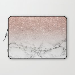 Modern faux rose pink glitter ombre white marble Laptop Sleeve