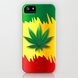 Cannabis Leaf on Rasta Colors Flag iPhone Case