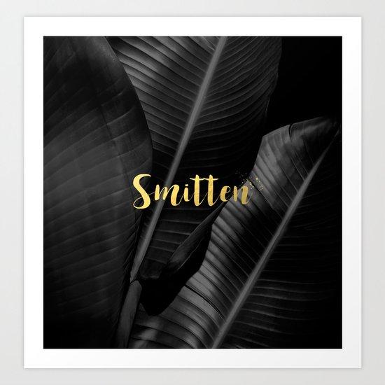 Smitten gold - bw banana leaf Art Print